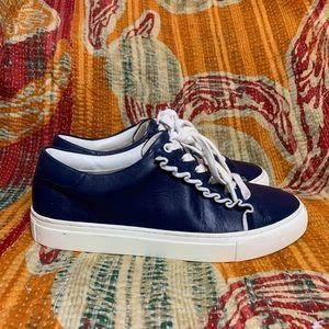 Tory Burch Sport Navy Blue Ruffle Sneakers Sz 8.5